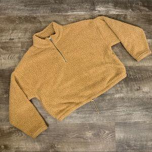 AMERICAN EAGLE Tan Sherpa Half Zip Pullover Jacket Large
